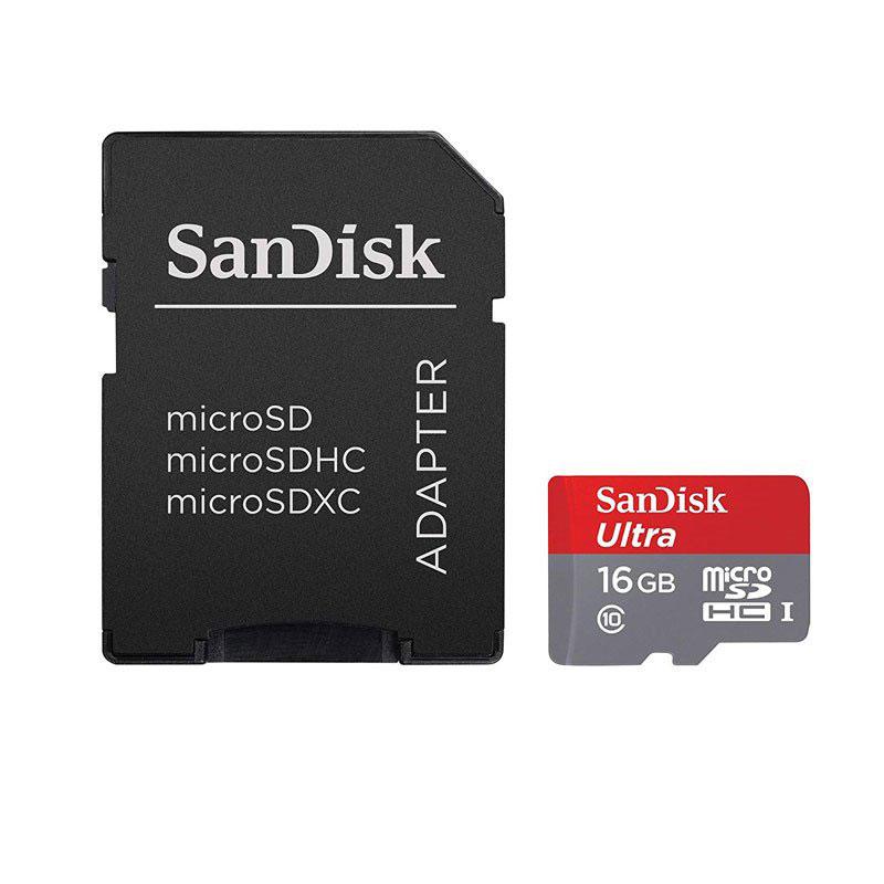 کارت حافظه microSDHC سن دیسک Ultra ظرفیت 16 گیگابایت همراه با آداپتو